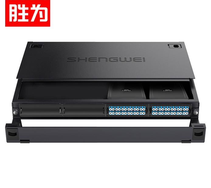 胜为 MDF-10SO-48L  MPO光纤配线箱 48芯LC单模满配 高密度模块化光纤终端盒配线架预端接分线箱 黑