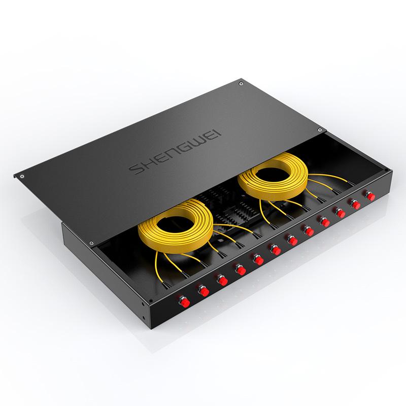 胜为 光纤终端盒 12口 单模满配 尾纤光缆熔接盒 FC接口 黑 FBO-1012F-S