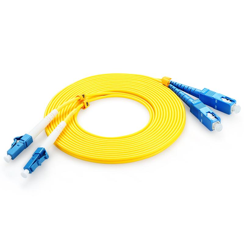 胜为(shengwei)FSC-2108 电信级光纤跳线 LC-SC单模双芯尾纤 50米 交换机/光纤盒连接线