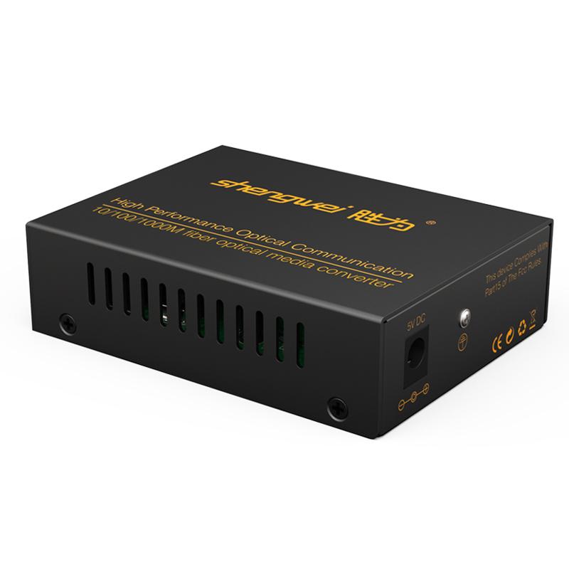 胜为 光纤收发器单模双纤光电转换器千兆自适应网络监控SC接口25KM FC-412