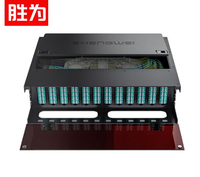 胜为MDF-103M-288L MPO-MTP光纤配线箱 288芯LC多模满配 万兆OM3高密度光纤续接盘配线架熔接分线箱