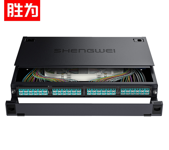 胜为 MDF-101M-96L MPO-MTP光纤配线箱 96芯LC多模满配 万兆OM3高密度光纤续接盘配线架熔接分线箱