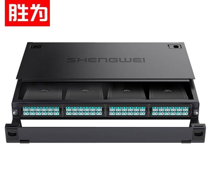 胜为 MDF-10MO-96L  MPO光纤配线箱 96芯LC多模满配 万兆OM3高密度模块化终端盒预端接分线配线架