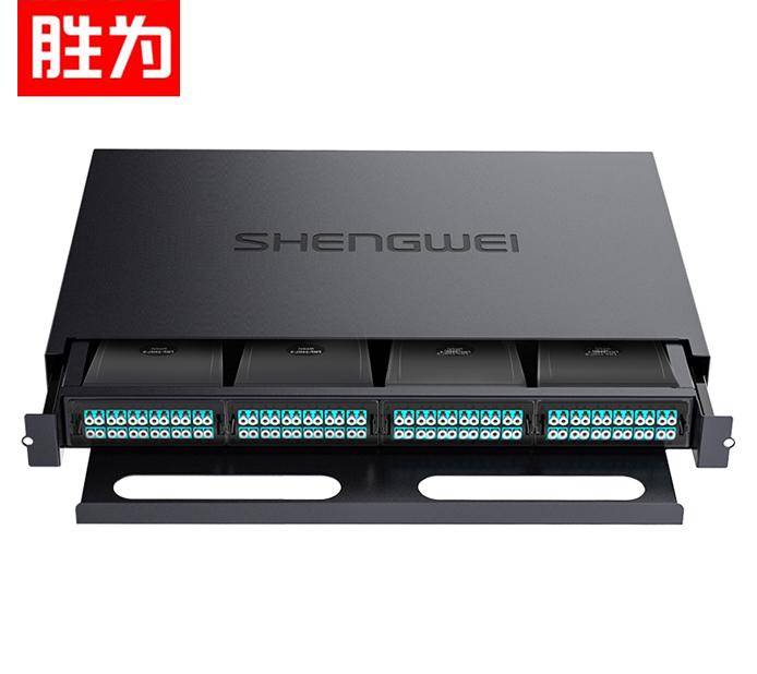 胜为 MDF-20MO-96L MPO光纤配线箱 96芯LC多模满配 万兆OM3高密度模块化终端盒预端接分线配线架