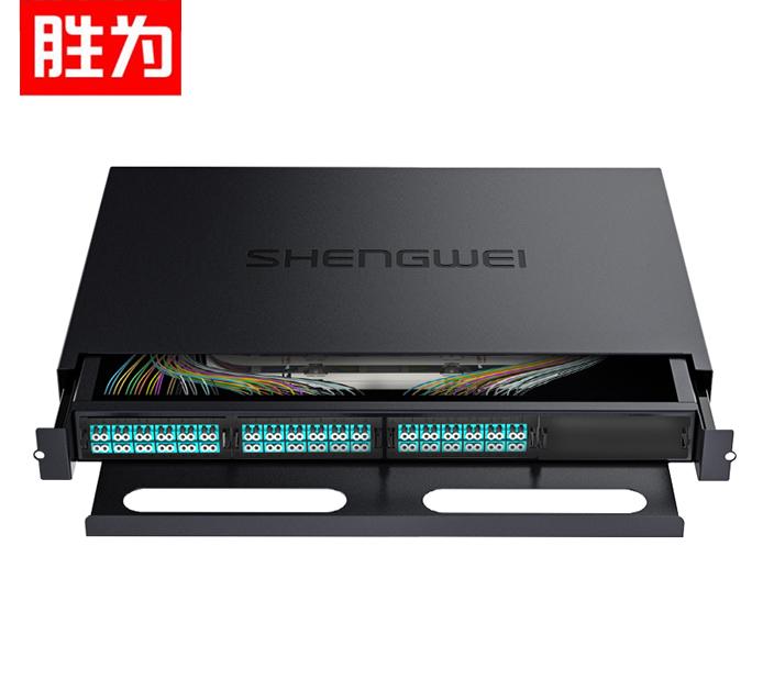 胜为 MDF-201M-72L MPO-MTP光纤配线箱 72芯LC多模满配 万兆OM3高密度光纤续接盘配线架熔接分线箱