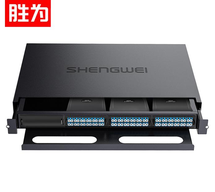 胜为 MDF-20SO-72L MPO光纤配线箱 72芯LC单模满配 高密度模块化光纤终端盒配线架预端接分线箱 黑