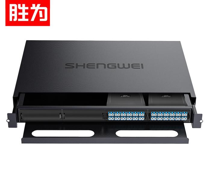 胜为 MDF-20SO-48L  MPO光纤配线箱 48芯LC单模满配 高密度模块化光纤终端盒配线架预端接分线箱 黑
