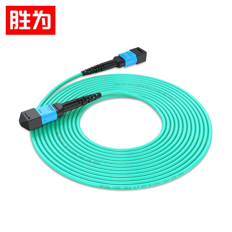 胜为 光纤跳线MPO-MPO母头12芯 多模OM4万兆40G光模块集束光纤