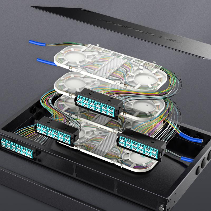 熔接型MPO预端接配线架 48芯单模多模一体式LC光纤高密配线箱