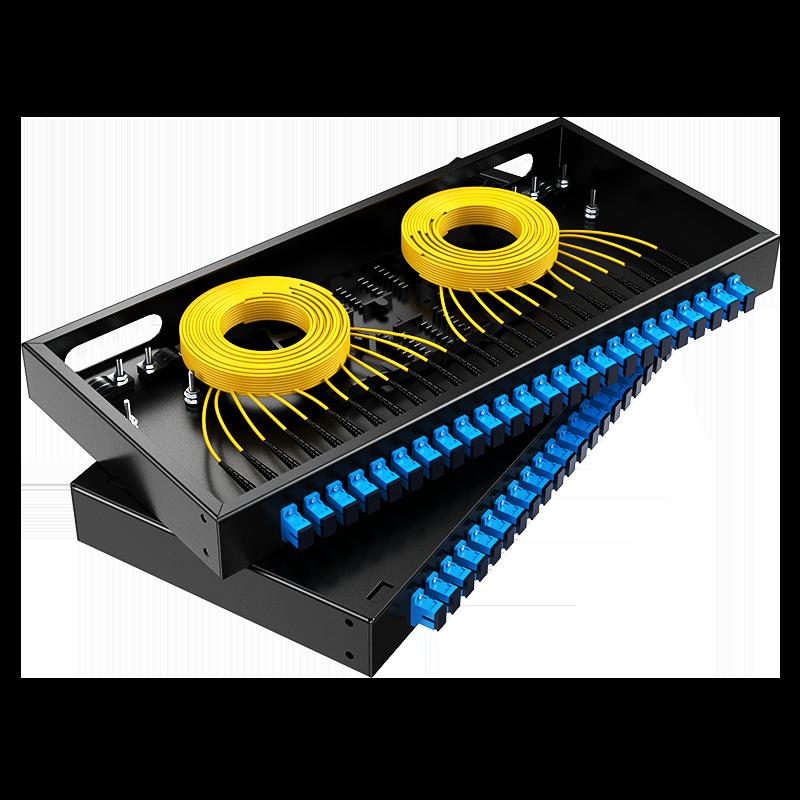 胜为 光纤终端盒 SC接口24口 单模满配 尾纤光缆熔接盒 黑FBO-1024S-S