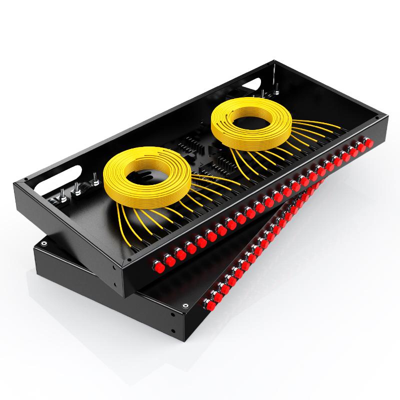 胜为 光纤终端盒 24口 单模满配 尾纤光缆熔接盒 FC接口 黑 FBO-1024F-S